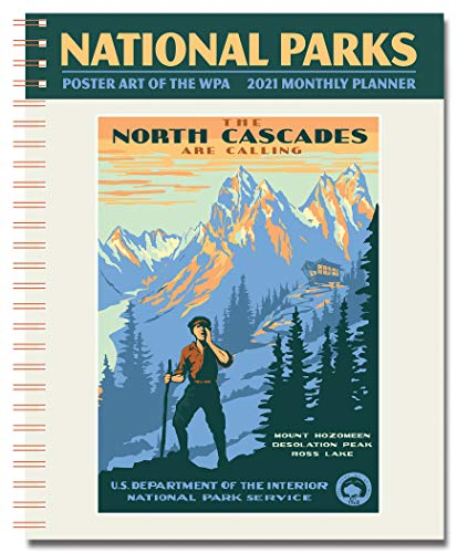 """National Parks Poster Art of The WPA Monthly Planner 2021, 7.5"""" x 9.75"""" Spiral Bound"""