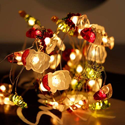 Cadena Luces 3m 30 Led con 8 Modos Parpadeo, Luces Navideñas Impermeables, Campana Navideña, Sombreros de árbol Navidad, Papá Noel, Decoraciones Navideñas para Interiores y Exteriores
