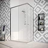 Box cabina doccia angolare 70 80 90 100 120 140 scorrevole vetro anticalcare cristallo 8mm. Quercia (80X140 cm)