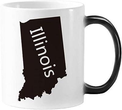 イリノイ州アメリカ合衆国米国のマップのシルエットアメリカ  モーフィング熱感度変更カラーマグカップギフトミルクコーヒー350 mlのハンドル