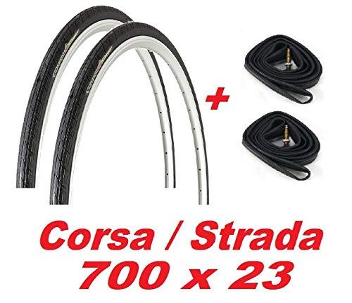 2X Neumáticos + 2X Cámaras de Aire 700 X 23 para Bicicleta Carreras/ Carretera/ Fixed
