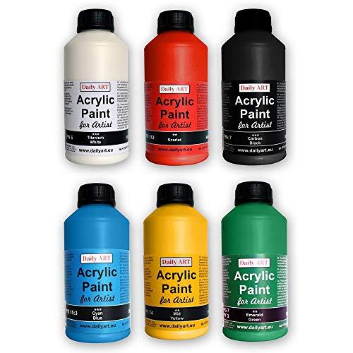 Daily ART Acrylfarbe Set 6 x 500 ml für Künstler und Studenten, Profis und Anfänger - Malen von Leinwand, Holz und Papier
