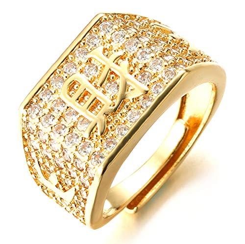 Halukakah ● Oro Bendiga Todo ● Hombres Anillo Chapado en 18K Oro Real con Diamantes Kanji Rico+Suerte+Riqueza Tamaño Ajustable con CajaDeRegaloGRATIS (Riqueza Annello con Diamantes)