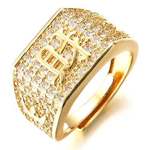 Halukakah  Oro Bendiga Todo  Hombres Anillo Chapado en 18K Oro Real con Diamantes Kanji Rico+Suerte+Riqueza Tamaño Ajustable con CajaDeRegaloGRATIS (Riqueza Annello con Diamantes)