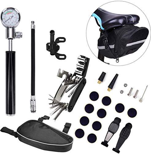 ZOOENIE 16 in 1 Multi Fahrrad Fix Werkzeuge, Reifen Punktion Reparatur Kit und Eine Radfahren Sitz Pack, Fahrrad Reifen Reparatur Tool Kit mit Mini Gauge, Einschließlich 210PSI Fahrrad Luftpumpe