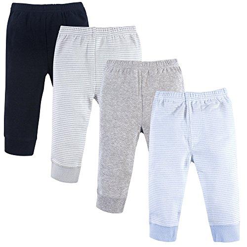Luvable Friends - Pantalones de Tobillo Estrechos de algodón para bebé, Powder Blue Stripes 4 Pack, 12-18 Months (18M)