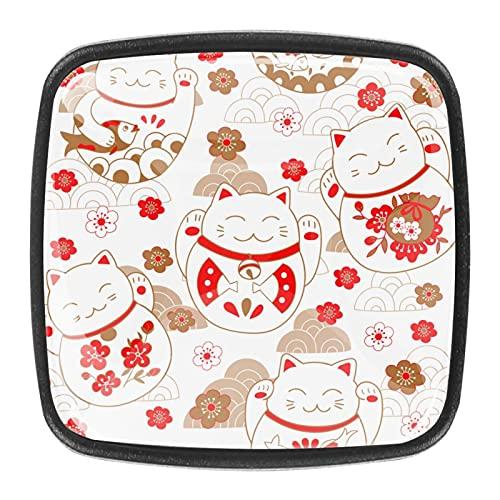 Tiradores de cajón de flores rosadas con diseño de gato de la suerte de Japón, para cajones de cocina, armario, puerta (4 unidades)