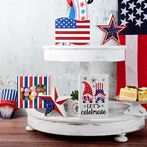 4 Pieces Memorial Day 4th of July Patriotic Tiered Tray Decor Set Veterans Day Patriotic USA Gnome America Flag USA Star Wood Signs Farmhouse Natural Wood Sign Rustic Wood Decor