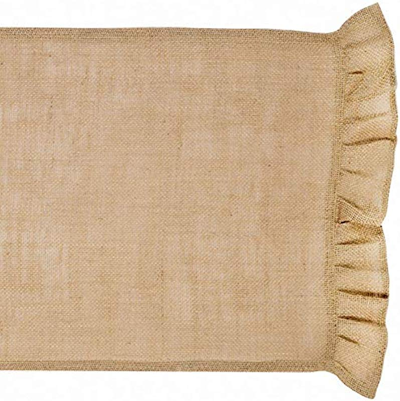 The Country House Collection Ruffled Burlap Table Runner 36 Inches