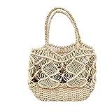 Bolso de moda, cuerda de algodón tejida, bolso de mano para la playa, bolso de hombro ahuecado de ganchillo, bolso de viaje bohemio, red de pesca, bolso de compras, bolso de hombro ahuecado