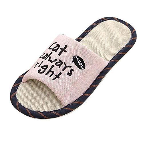 HIUGHJ Zapatillas Mujer Casual Inicio Gato Patrón Chanclas de Lino Zapatos Tallas Grandes Casa Zapatillas de Interior Zapatillas Mujer, Rosa, 5