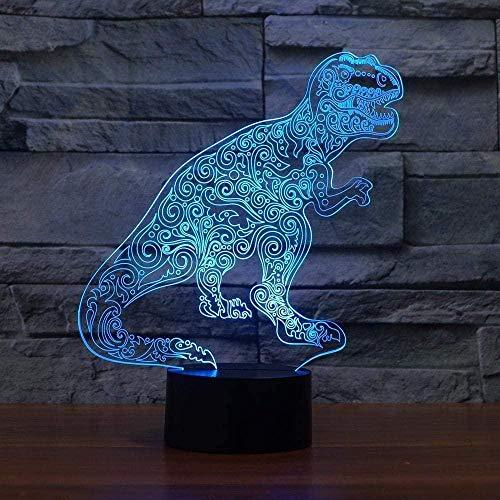 3D Illusions Luz Nocturna Lámpara De Mesa Decorativa Dinosaurio 7 Colores Cambiando Con El Botón De Tacto Inteligente Regalo Romántico Para El Amante, Esposa, Novio O Novia
