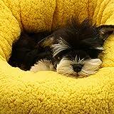 Novopus:Wolle Hunde Katzen Haustier Bett, warme stilvolle Welpen Plüsch Kissen Betten, abnehmbare waschbar unzerstörbar Katze/Hund Bett 70 cm Durchmesser (gelb)