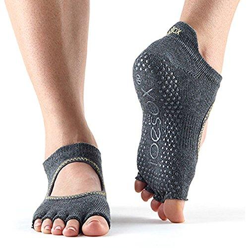 Toesox Half Toe Bellarina Calcetines de Yoga, Unisex Adulto, Gris/Verde (Lime), S