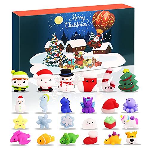 Sakmilu 2021 Calendario dell'Avvento - 24 Pezzi Mochi Squishy Toys Calendario Conto alla Rovescia di Natale per Bambini Adulti Rilievo dello Stress