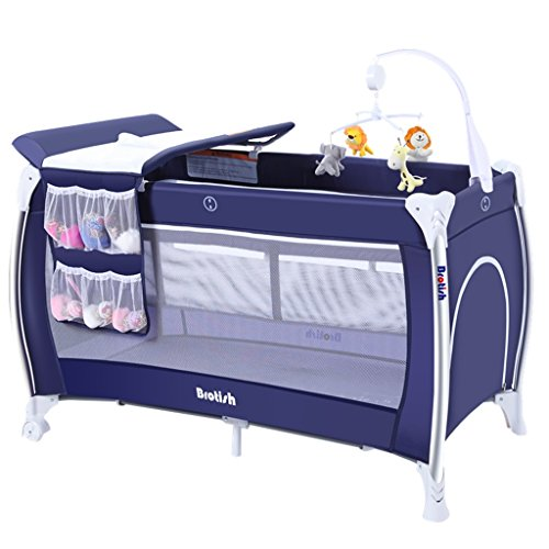 Sale!! Aluminum Alloy Steel Pipe Oxford Cloth Net Yarn Ventilation Cradle Bed Collapsible Cribs Mult...