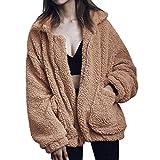YYW Damen Winterjacke Kurz Vorne Offen Lange ÄRmel Faux Wolle Mantel Mit Taschen Cardigan Jacke Plüsch Oberbekleidung (Kamel,S)