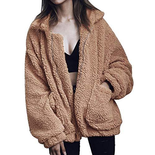 Womens Casual Fleece Long Sleeve Fluffy Faux Fur Sherpa Jacket Sweatshirt Outerwea Open Front Lapel Coat Teddy Bear Jacket (Camel,M)