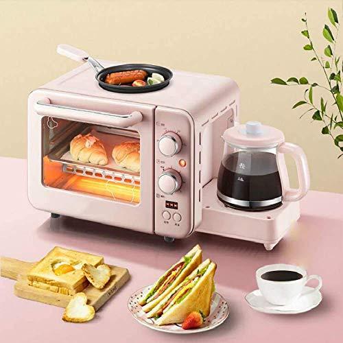 XUAGMT Multifunktions-Frühstücksmaschine, elektrischer Backofen, Kuchen, Backen, Bratpfanne, Warm-Trinktopf, Toaster-Zeit-Temperatursteuerung, rosa, 1400 W