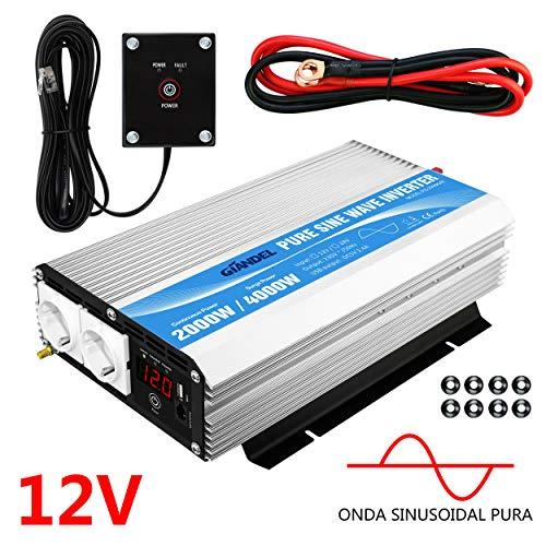 Inversor de Corriente de Onda sinusoidal Pura 2000W Convertidor DC 12V a AC 220V 230V con...