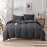 DONEUS Jersey Knit Cotton Duvet Cover Queen Full Size Charcoal Grey Duvet Cover Set 3 Pieces,1 Duvet Cover and 2 Pillow Shams,Solid Pattern Design,Super Soft and Easy Care Bedding Set