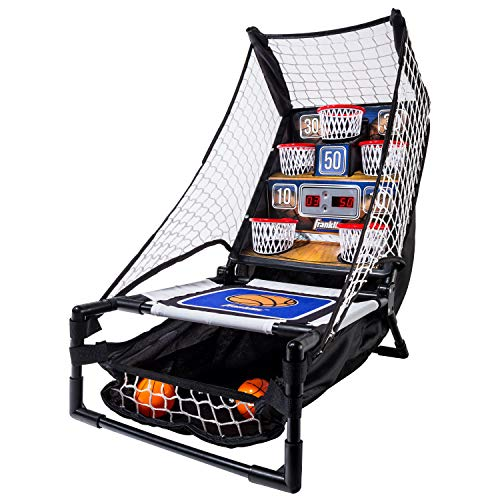 Franklin Sports Basketball Arcade Game - Table Top Bounce A Bucket Shootout- Indoor Electronic Basketball Game for Kids, Black, 21 x 11 x 19-Inch