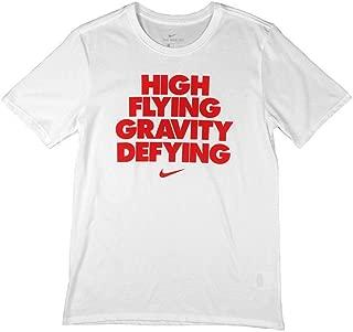 Nike Boy's High Flying, Gravity Defying Graphic Crew Neck T-Shirt White/Red BQ1937-100 (Medium)