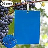 zoore 20 pezzi blu trappole appiccicose, biadesivo trappole appiccicose per parassiti delle piante, per insetti volanti - serre e all'aperto, tripidi, afidi, leaf miner, tarme zanzara, mosche.