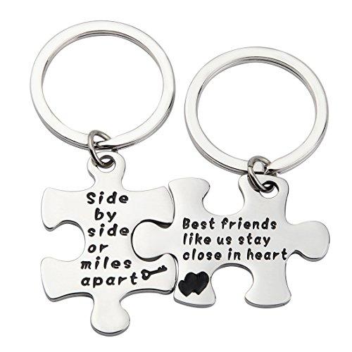 ensianth mejor amigo regalo de lado por lado o millas Apart Puzzle joyería mano con sello collar llavero regalo para amigo (SBS llavero)