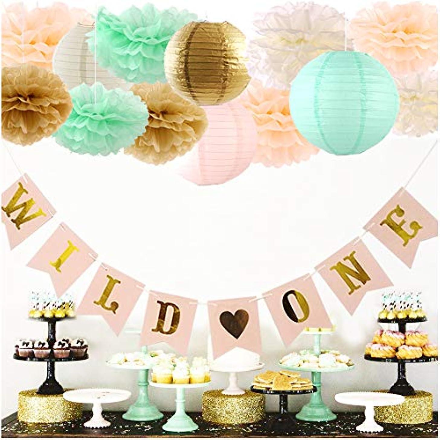 luckylibra First Birthday Decorations Wild one Banner Paper Lantern & Paper Flower Pom Poms(Mint Green, Peach, Cream, Gold)