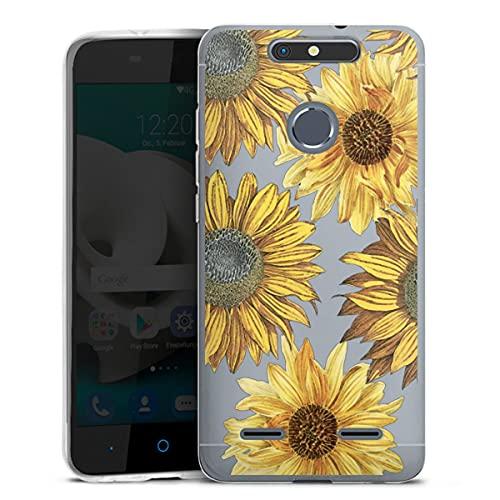 DeinDesign Silikon Hülle kompatibel mit ZTE Blade V8 lite Hülle transparent Handyhülle Sonnenblume Retro transparent