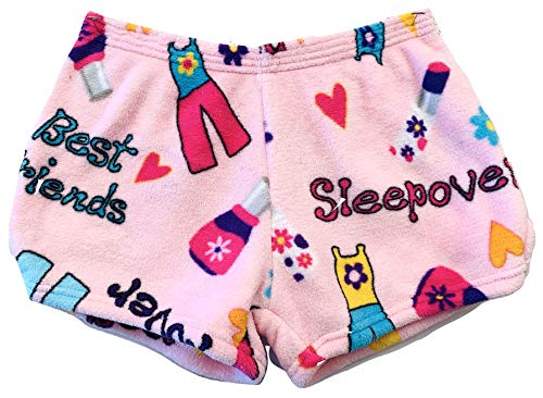 Made with Love & Kisses Girls Super Soft Novelty Print Plush Shorts (Adult S/M, Pink Sleepover)