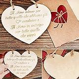 Targa in Legno Amore Cuore Targhetta Ti Amo Porta Biglietti Auguri Regalo per Ragazza Lei Fidanzata Decorazione per Matrimonio Anniversario Natale Casa Cartel