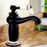 Grifo mezclador de latón antiguo, estilo vintage, de porcelana, para lavabo,...