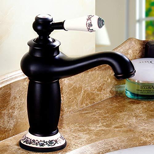 Grifo mezclador de latón antiguo, estilo vintage, de porcelana, para lavabo, baño, cocina, color negro