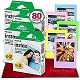 FUJIFILM instax SQUARE Instant Film (80 Exposures) For SQ6, SP-3, SQ20 + FiberTique Cleaning Cloth