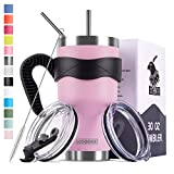 Koodee 30 oz Purple Pink Tumbler Stainless Steel Vacuum Insulated Coffee Travel Mug with 2 Lids, 2 Straws, Brush,Handle (30 oz Purple Pink)