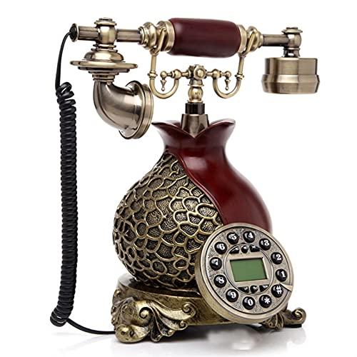 Pasado de moda Teléfono antiguo de la vendimia de la vendimia del estilo de Europa for la oficina en casa hecha de la resina blanca y el teléfono fijo rojo puede funcionar en todo el mundo H26 Teléfon