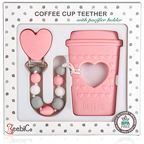 BPA Free Pacifier Clip Holder Set - Baby Teething Toys for Girl- Silicone Beaded Clip and Coffee Cup Teether - Unique Newborn Baby Girl Gifts - Cool & Funny Present for New Mom - Pink