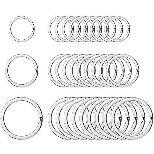 DILISEN Runde Flache Schlüsselanhänger Metall Ringe Split Ring für Haus Auto Schlüssel Organisation, 3/4 Zoll, 1 Zoll und 1,25 Zoll, 30 Stück, Silber
