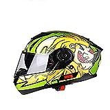 ZHXH Vollgesichtsmotorradhelm DOT-zertifizierter Rennhelm Cromwell Helm Jet Doppelspiegel Modular Flip Helm Helm für Männer und Frauen bedruckter Street...