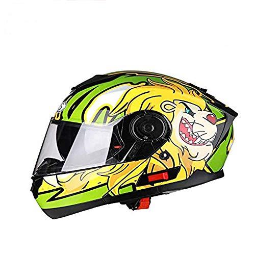 ZHXH Vollgesichtsmotorradhelm DOT-zertifizierter Rennhelm Cromwell Helm Jet Doppelspiegel Modular Flip Helm Helm für Männer und Frauen bedruckter Street Scooter Helm (mehrfarbig optional)