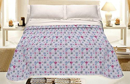 Smartsupershop Frühlings-Sommer-Tagesdecke für französisches Bett, 220 x 280 cm, Kreise Rosa Violett aus Baumwolle, Piqué Jacquard, hergestellt in Italien