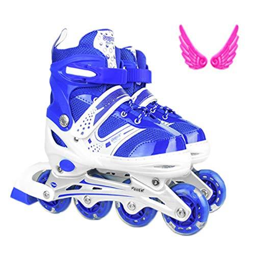 Mowday Patines en línea, ajustables con LED para ruedas de patinaje para niños, todos los flashes de cuatro ruedas, zapatos de patinaje, talla S/M/L, azul, M
