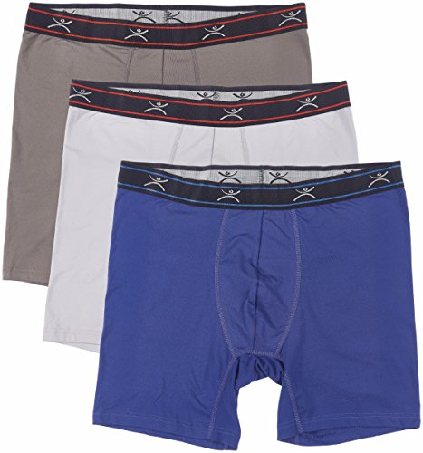 """Terramar Men's Silkskins 6"""" Boxer Briefs with Pouch (Pack of 3),Lt.grey/Dl.grey/Navy,Small"""