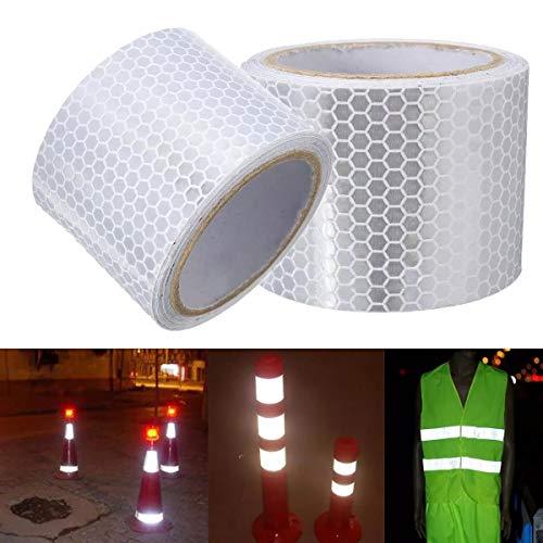 Cheng L Silber Weiß Reflektierende Sicherheitswarnung Auffälligkeit Tape-Aufkleber Film 5cm x 3m Band