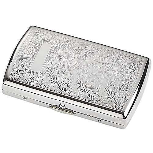 LLZX Caja de Cigarrillos Ligera de Acero Inoxidable Soporte de Caja de Cigarrillos de Metal Extra Delgado para 12 Piezas de Cigarrillos 84 mm Plata