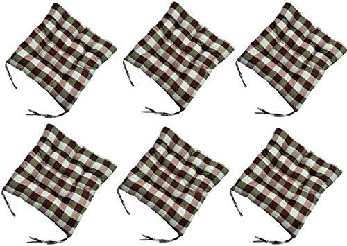 WHCQ - Juego de 6 cojines para silla de comedor (40,6 x 40,6 cm, con funda de poliéster y relleno de fibra para cocina, salón, jardín, terraza, pat.