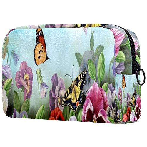 Trousse de toilette portable pour femme avec papillons
