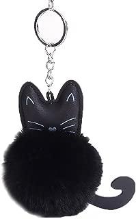 Cute Cat Faux Soft Fur Ball Pompom Pendant Keychain Car Handbag Purse Keyring
